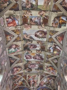 Michelangelos famous frescos in The ceiling of The Sistine Chapel