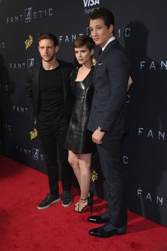 Jamie Bell, Kate Mara, and Miles Teller attend the New York premiere of 'Fantastic Four'