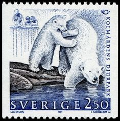 Polar bears, designed by Ingalill Axelsson, engraved by Lars Sjööblom, and issued by Sweden on May 15, 1991 as one of a set of two stamps commemorating the 25th anniversary of Kolmården Wildlife Park, Scott No. 1887, Facit No. 1683.