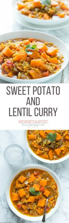 A really easy Sweet Potato and Lentil Curry that's gluten free and Vegan too! Serve it with Naan Bread and Yoghurt | visit noshtastic.com for more great recipes!