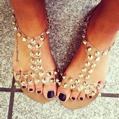 Gold studded sandals. Adorable.