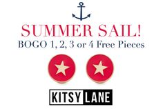 Summer is here! Celebrate the sunny season with our preppiest styles and nautical favorites. Get 1, 2, 3, or 4 free today only with code AHOY1, AHOY2, AHOY3, or AHOY4. Upgraade: Get an extra free gift with your 4-piece purchase! WWW.SWEETSERENITYBYJOY.KITSYLANE.COM