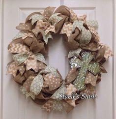 Burlap Wreath with Cross by StaciesStash on Etsy