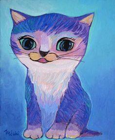 青紫色とピンクの顔の猫 猫道 Cat Paintings, Space Cat, Contemporary Artists, My Works, Community, Cats, Fictional Characters, Gatos, Kitty Cats