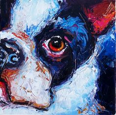 Boston terrier painting on canvas | HERE LOOKING AT YOU 12 x 12 x 1.5 Oil on Canvas