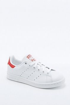 adidas Originals - Baskets Stan Smith blanches et rouges - Femme 37.5