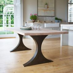 Paris Rectangular Dining Table With Metal Legs And Wood Top Tom