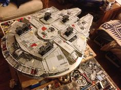 by Arlan Hiebert Lego Falcon, Lego Millenium Falcon, Cool Lego, Awesome Lego, Space Fighter, Lego Challenge, Lego Spaceship, Star Wars Ships, Lego Models