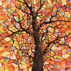 Original Abstract Tree Landscape Painting ... Stained Glass Tree ...