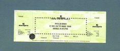 08/10/2008: Nine Inch Nails se presentó en Caracas. Esta fue la entrada de aquel show. Dice 15 porque el concierto inicialmente estaba pautado para una semana después, pero se adelantó debido a la suspensión de algunas fechas de la banda en Brasil. El precio: 200 Bs (93 dólares de la época)
