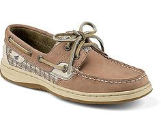 This is the Sperry Top-Sider Bluefish 2-Eye Boat Shoe. Size 8 in a light brown/beije tone. I already have a pair that is predominantly navy. Bluefish is the style in the photo and it's the one with the longer front. I'm not sold on the Angelfish with the shorter front.