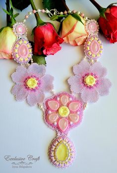 """Bead embroidered necklace """"Spring Blossom"""" by Exclusive Craft"""