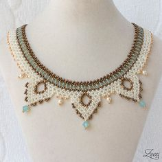 Lace Bead Weaving Necklace Gold Turquoise Collar 529 by Zeesi