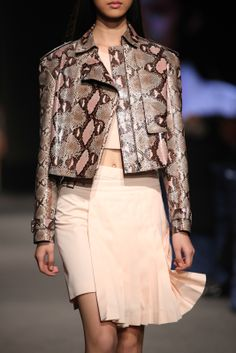 Ferragamo SS14 runway collection painted python jacket.