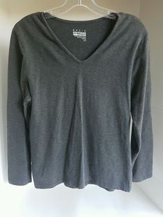 Women's Basic Editions Fit V Neck Gray Long Sleeve Cotton Stretchy Shirt Large L | Clothing, Shoes & Accessories, Women's Clothing, Athletic Apparel | eBay!