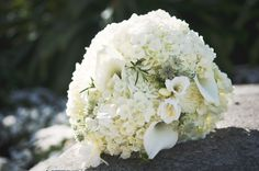 Bridal Bouquet with Hydrangeas, Callas, Freesia and Rosemary - Alison + Bryan's Wedding