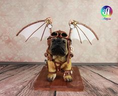 Puppy Pug Aviator - cake by Artym Cupcake Decorating Techniques, Best Pet Dogs, Cake Structure, Steampunk, Natural Pet Food, Steamed Cake, Food Artists, Cute Pigs, Chihuahua Mix