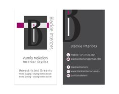 Business cards for Blackie Interiors Packaging, Branding, Layout, Interior Stylist, Home Staging, Graphic, Business Cards, Studios, Interiors