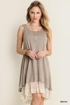 Sheer Knit Tank Dress Lined with Lace Trim Color Taupe. Fully Lined Sheer Knit Tank Dress. Beautiful Peek-a-Boo Lace Trim. Hand Wash Cold /Hang to Dry. Runs true to size. Tank Dress, Dress Skirt, Boho Fashion, Fashion Outfits, Chic Dress, Sheer Dress, Vintage Dresses, Casual Dresses, Clothes