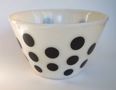 "Fire King Rare Vintage Black Polka Dot Mixing Bowl 8.5"" by retrowarehouse on Etsy"