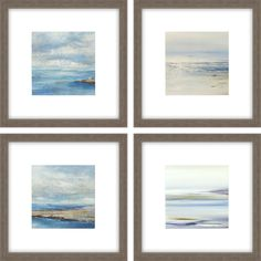 Serene seascapes are matted in ultra thick museum core white. Framed in a medium wood-grain finish molding. Wall Art Sets, Framed Wall Art, Framed Prints, Sea Theme, Beach Scenes, Beach Art, Landscape Art, Shadow Box, Beautiful Landscapes