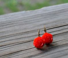 Red Rose Earrings  Bridesmaid Gift  Wedding by cynicalredhead, $11.75
