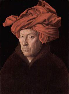"""""""O Homem do Turbante Vermelho"""". [Possível Auto-Retrato].  (by Jan van Eyck)."""