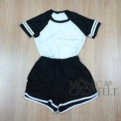 Conjunto Esporte, Baby Look com Listras+ Short Cintura Alta #roupa #moda #swag