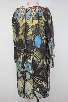 MARNI Runway Mosaic Silk/Wool blend Dress Sz M