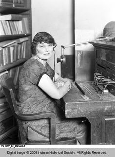 Mrs. Hamby at Switchboard at the Tribune, Terre Haute ca 1925