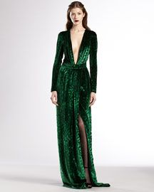 B1YRJ Gucci Velvet Deep V-Neck Gown