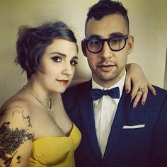 Lena Dunham posed with her boyfriend, Jack Antonoff, ahead of the Golden Globes.
