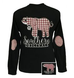Girlie Girl Alabama Preppy Southern Hounds Tooth Elephant Long Sleeves T Shirt