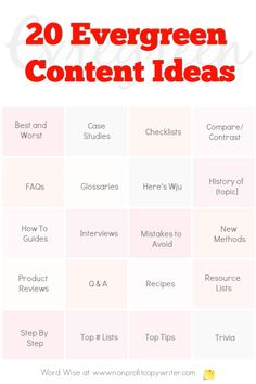 Try these 20 evergreen content ideas to build traffic to your or website with Word Wise at Nonprofit Copywriter Writing Websites, Writing Strategies, Blog Writing, Writing Skills, Writing A Book, Writing Tips, Article Writing, Content Marketing Strategy, Marketing Plan