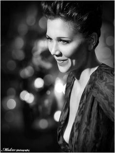 Potential Christmas shot, tree in background. Again, it's the eyes (and a hint of more) with Maggie Gyllenhaal.