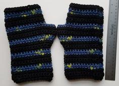 Handmade Black and Blue Stripe Fingerless Gloves
