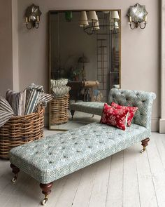 A handsome George IV mahogany daybed English in blue fabric. Traditionally deep buttoned with horsehair upholstery Furniture, Upholstered Sofa, Reupholstery, Bespoke Furniture, Daybed, Sofa Styling, Gorgeous Sofas, Room Inspiration, Upholstery