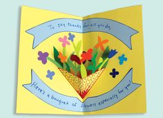 Mother's Day Pop-Up Card - How to make a pop-up card with a bouquet of flowers for Mother's Day.