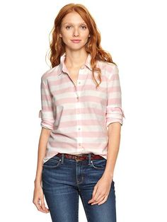 dark wash jeans paired with a subtle patterned button down shirt works well for women AND men!