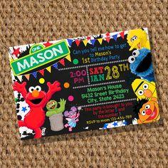 Elmo Birthday  Sesame Street Invitation  Elmo Birthday