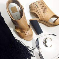 Perforated Cutout Booties Details: • Size 9.5 • Honey colored leather with perforated and cutout details  •!Side zip entry  • Gold tone hardware • Black block heel with a rubberized coating • Brand new in box   05011502 Dolce Vita Shoes Ankle Boots & Booties