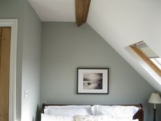 bedrooms - Farrow & Ball - Light Blue No. 22 - gray, white bed linen, dormer, calm, grey, farrow, ball, light, blue,  farrow and ball