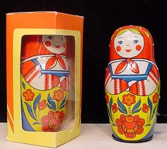 "Russian Tin Toys From the 1980s and 1990s: This entertaining Matryoshka spins one way and then the other, back and forth. Comes boxed with key. 7"". Made in USSR.  (not for sale on this site)"