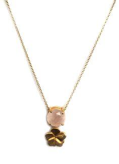 Collar tulipán con cuarzo rosa en plata 925 con chapa de oro de 18k
