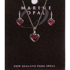Heart Necklace & Earings - SET107 Shells, Brooch, Pendant Necklace, Drop Earrings, Heart, Bracelets, Jewelry, Gift, Conch Shells