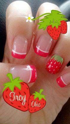 Al mal tiempo, uñas lindas🥰💅 Food Nail Art, Fruit Nail Art, Fruit Nail Designs, Red Nail Designs, Spring Nail Art, Spring Nails, Red Summer Nails, Nail Art Tropical, Nail Art Inspiration