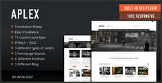 Aplex is a premium Business WordPress theme suited for Creatives, Designers, Photographers or any type of profession. It's so flexible with unlimted options that you can make    SEO This theme is ready for search engines (SEO) with no need to pluigns or any tools Design very modern design you can use it with you next project.