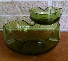Anchor Hocking Chip and Dip Bowl Set - Accent Modern Avocado Green - 2 Bowls and Metal Holder - Mid Century  Modern Serving  Bowls - Vintage by ClassyVintageGlass on Etsy