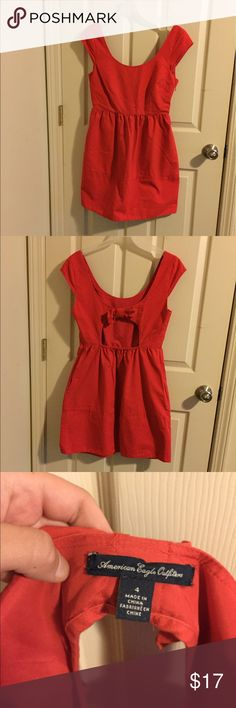 """Red cap sleeve fit and flare dress **THIS DRESS IS ACTUALLY A SIZE 4** I listed it as a 6 because I am a pretty true 4 and it was quite a bit too big for me. Use your discretion! For reference, I'm 5'3"""" and 34 chest. It's a thick cotton simple red dress that would be super cute in the summer! Also it has pockets! American Eagle Outfitters Dresses"""