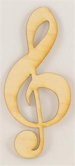 Unpainted Treble Clef Wood Cutout| Wood Cutout | Wooden Shape | Unfinished Wood Cutouts and Shapes